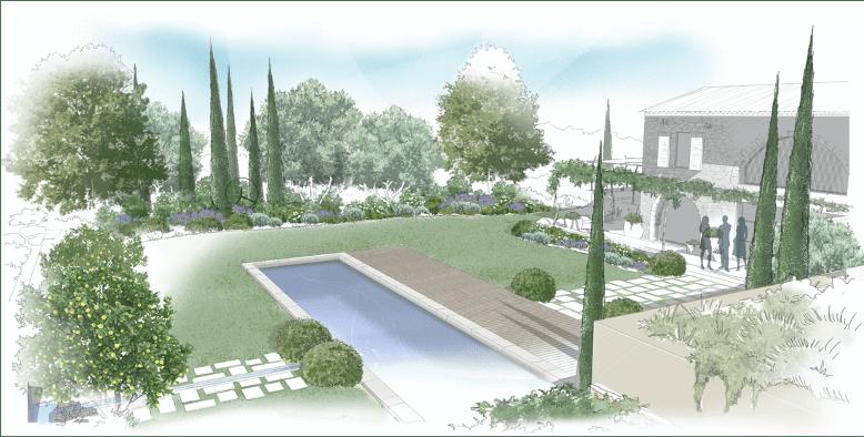 plan de jardin villa